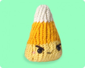 Naughty Candy Corn knitted toy