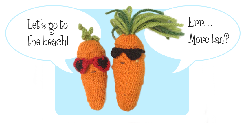 free knitting patterns Sweet Carrot & Cool Carrot - cute together wearing sunglasses