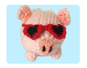 Pig Oink! Heart Sunglasses - cute free knitting patterns