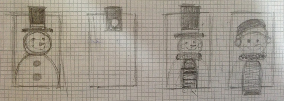 Snowman mobile phone case sketch