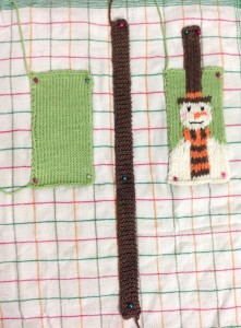 Snowman knitted mobile phone case Blocking stage
