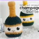 Felted Knit Amigurumi Champagne Bottle